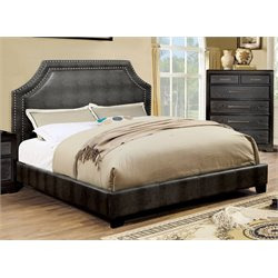 Furniture of America Bunchini Queen Faux Leather Upholstered Bed