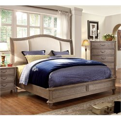 Furniture of America Bartrand California King Upholstered Bed in Gray