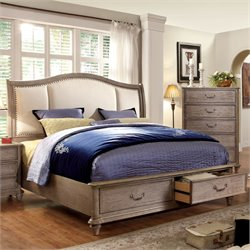 Furniture of America Bartrand Queen Storage Upholstered Bed in Gray