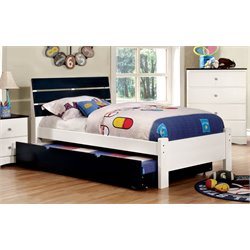 Furniture of America Emely Twin Platform Bed with Trundle in Blue