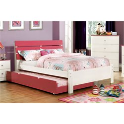 Furniture of America Emely Twin Platform Bed with Trundle in Pink