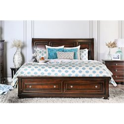 Furniture of America Caiden California King Storage Bed in Cherry