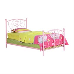 Furniture of America Aubrey Twin Metal Platform Bed in Pink