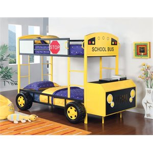 Furniture of America Kruses Twin over Twin School Bus Bunk Bed