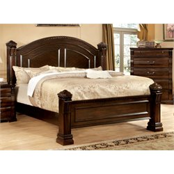 Furniture of America Oulette King Poster Bed in Cherry