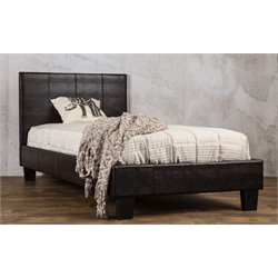 Furniture of America Nicole Queen Faux Leather Platform Bed in Brown