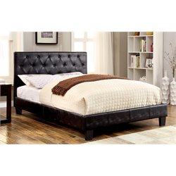 Furniture of America Rochelle Twin Faux Leather Tufted Bed in Black