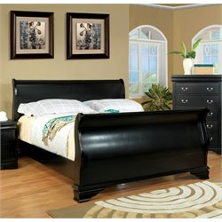 Furniture of America Easley Queen Sleigh Bed in Black
