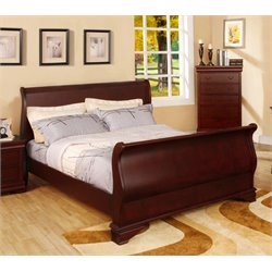 Furniture of America Easley Queen Sleigh Bed in Cherry