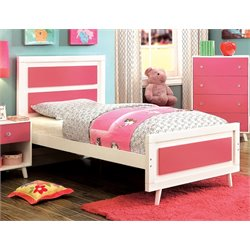 Furniture of America Jennings Full Platform Panel Bed in Pink