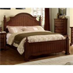 Furniture of America Fletcher Queen Poster Bed in Cherry
