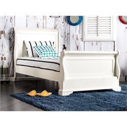 Furniture of America Jeffers Twin Sleigh Bed in White