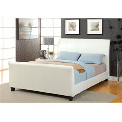 Furniture of America Colvin Full Leather Sleigh Bed in White