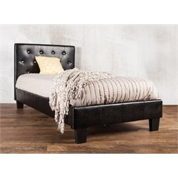Furniture of America Kylen King Leather Tufted Platform Bed in Black