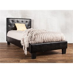 Furniture of America Kylen Full Leather Tufted Platform Bed in Black