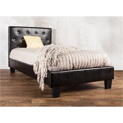 Furniture of America Kylen Queen Leather Tufted Platform Bed in Black