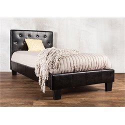 Furniture of America Kylen Twin Leather Tufted Platform Bed in Black