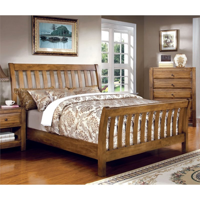 beds oak beds and rustic on furniture of america slat sleigh bed in 5007