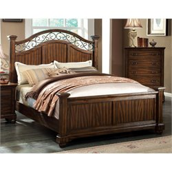 Furniture of America Makayla California King Poster Bed in Dark Oak