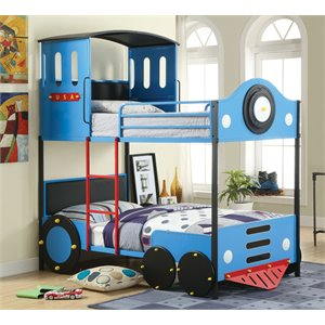 Furniture of America Quinlan Twin over Twin Train Bunk Bed in Blue