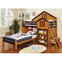 Elwood Twin House Loft Bed with Twin Bed