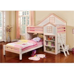 Furniture of America Elwood Twin Over Twin Bunk Bed in White