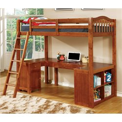 Furniture of America Franklyn Twin Loft Bed with Desk in Oak