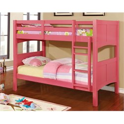 Furniture of America Schwing Twin over Twin Bunk Bed in Pink