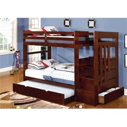 Furniture of America Malvin Twin over Twin Bunk Bed with Steps