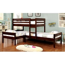 Furniture of America Woody Twin over Twin Bunk Bed with Twin Bed