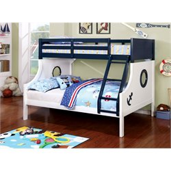 Furniture of America Willem Twin over Full Bunk Bed in Blue and White