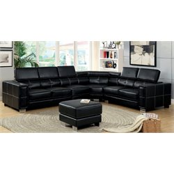 Furniture of America Jorien Leather Sectional with Ottoman in Black
