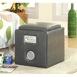 Furniture of America Larson Square Leather Speaker Ottoman in Gray