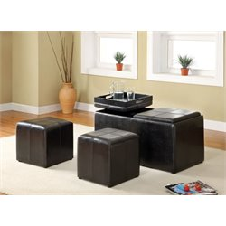 Furniture of America Penning Leather Nesting Ottoman in Espresso