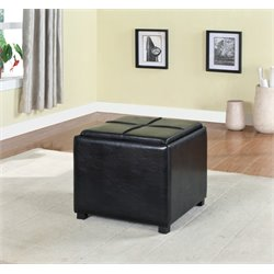 Furniture of America Scherrer Leather Nesting Ottoman in Black
