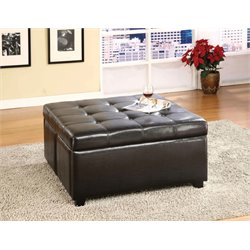 Furniture of America Yula Square Leather Tufted Ottoman in Espresso