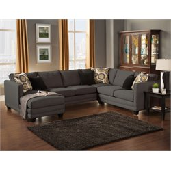 Furniture of America Opitzi Modern Sectional in Ebony