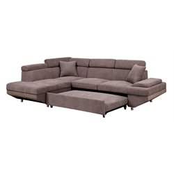 Furniture of America Sleet Flannelette Convertible Sectional in Brown