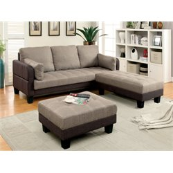 Furniture of America Vue 3 Piece Convertible Sectional Set in Brown