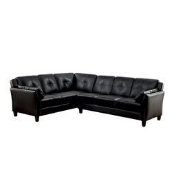 Furniture of America Billie Faux Leather Tufted Sectional in Black