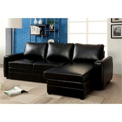 Furniture of America Marious Leather Storage Sectional in Black
