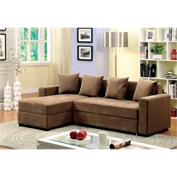 Furniture of America Prastic Convertible Sectional with Casters