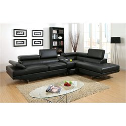 Furniture of America Briana Leather Sectional with Console in Black