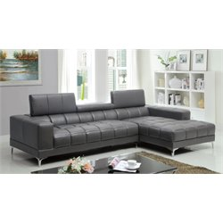 Furniture of America Cruze Leather Sectional in Gray
