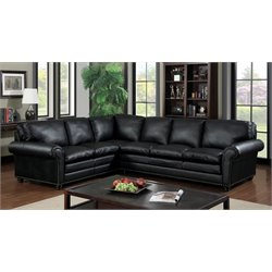Furniture of America Cicini Leather Sectional in Black