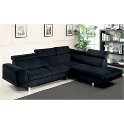 Furniture of America Brea Fabric Tufted Sectional in Black