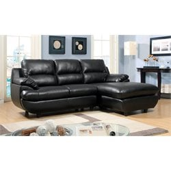 Furniture of America Gloria Leather Sectional in Black