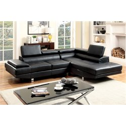 Furniture of America Jetli Leather Tufted Sectional in Black