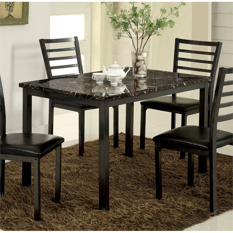 Cymax Stores & Furniture of America Maxson Faux Marble Top Dining Table in Black