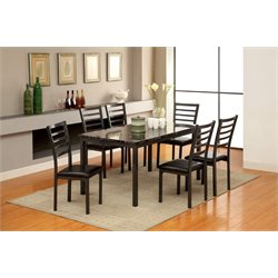 Furniture of America Maxson 7 Piece Dining Set in Black